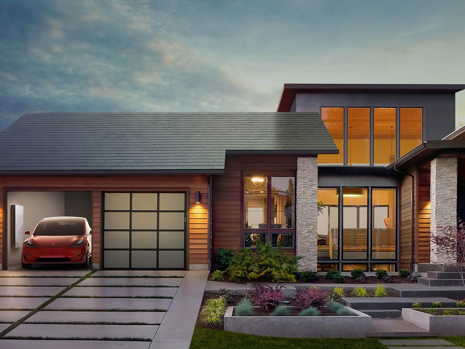 Tesla Model 3 charging next to Tesla PowerWall in a house with a Tesla Solar Roof