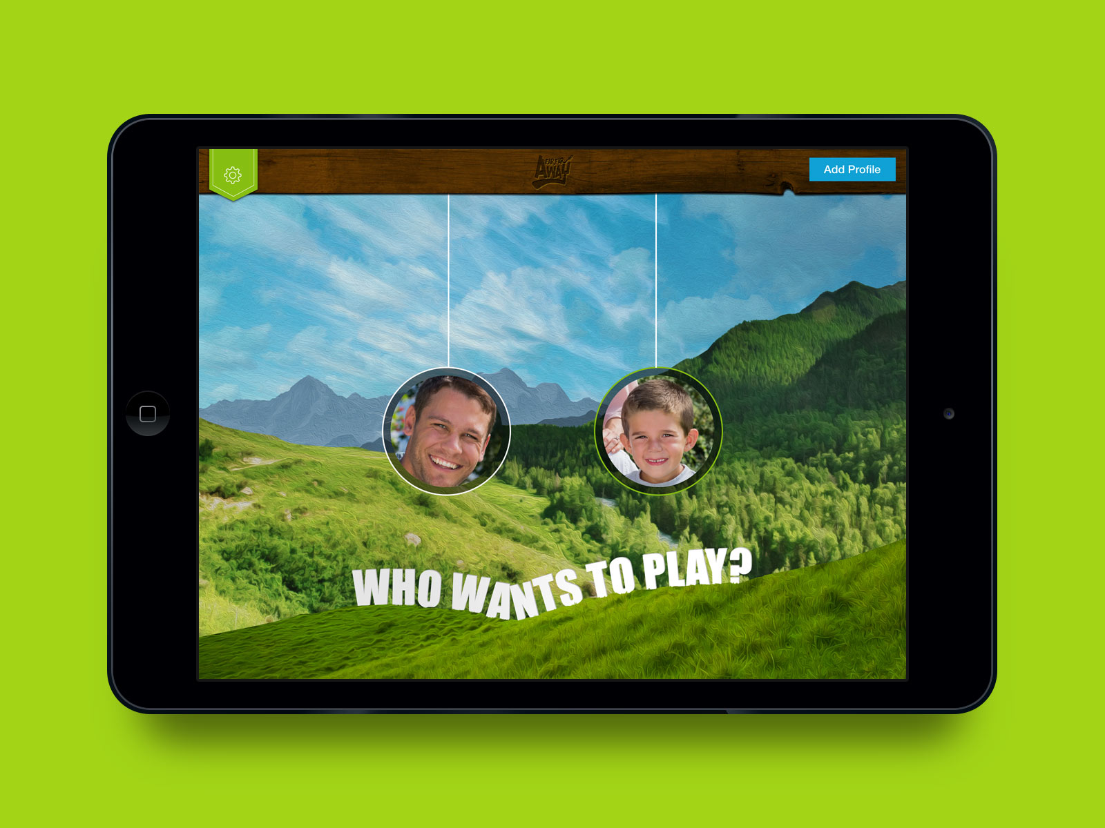 Far Far Away app on iPad. Interactive book and video chat. Multiple user accounts.