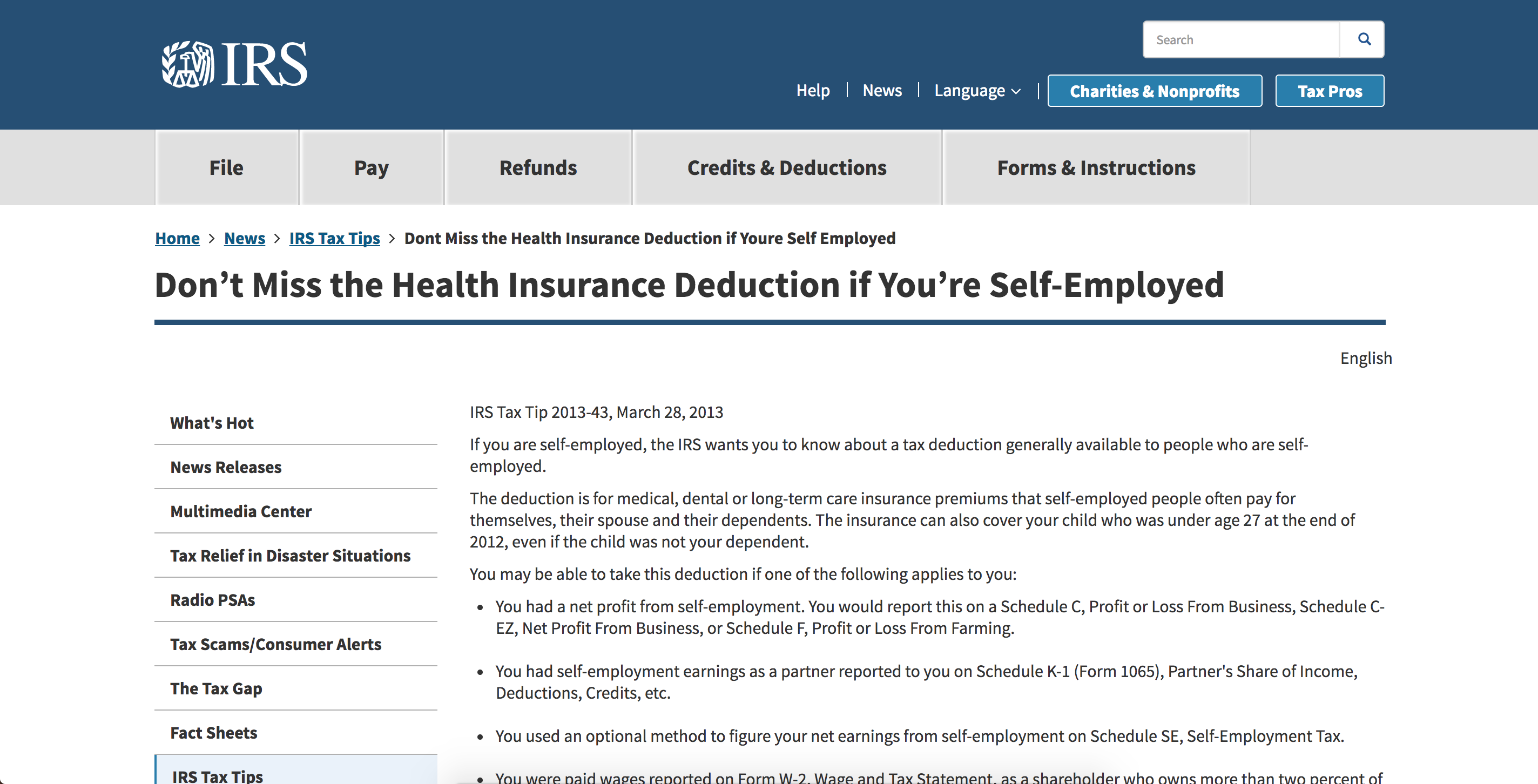 IRs: Don't miss the health insurance deduction if you're self-employed