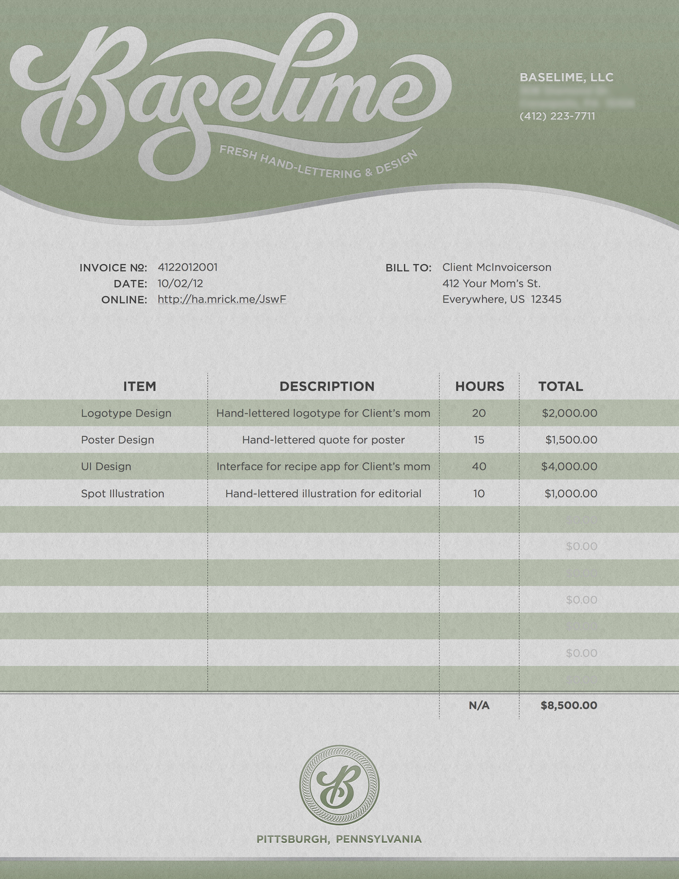 freelance graphic designer invoice template bonsai