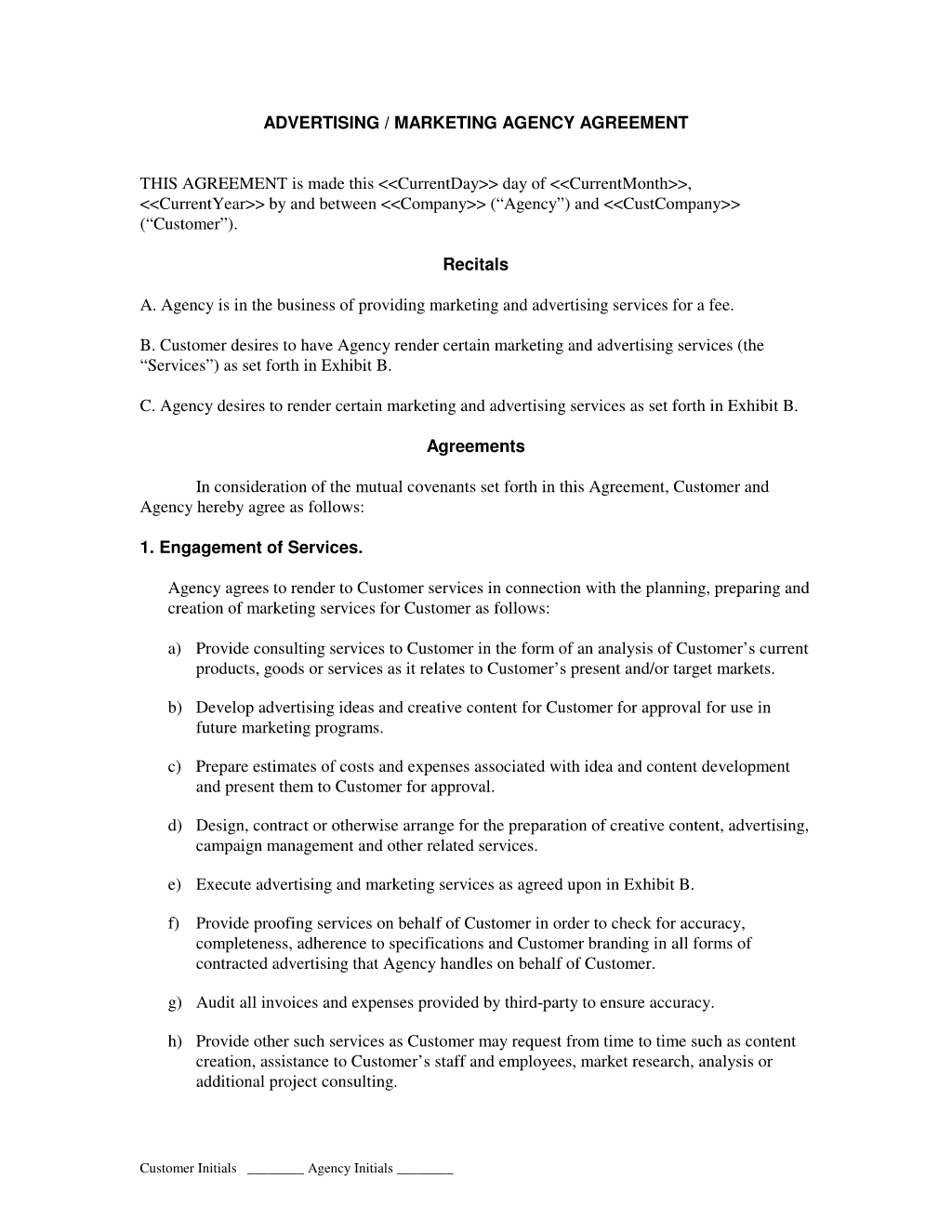 SEO Marketing Agency Agreement