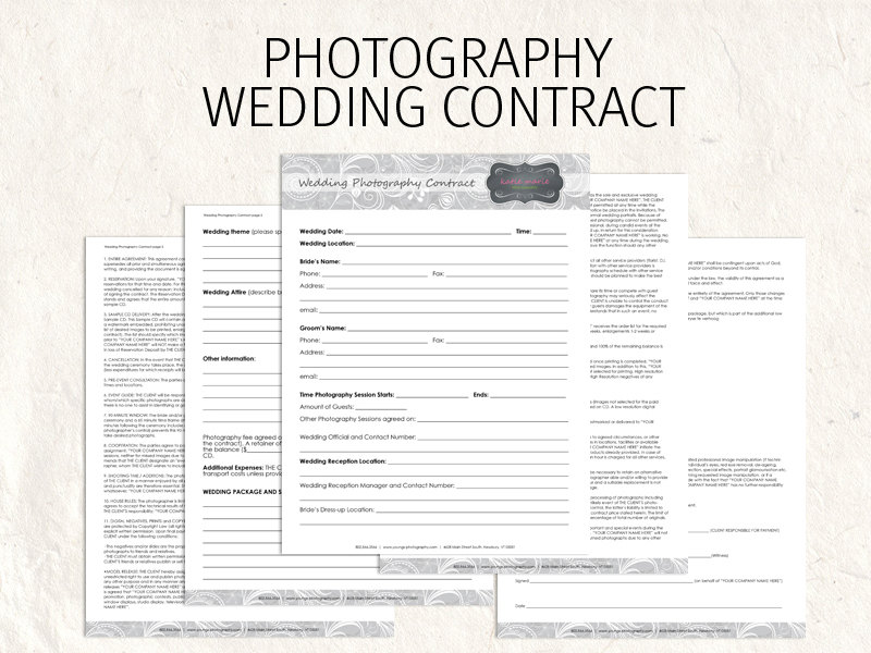 wedding photographer contract sample