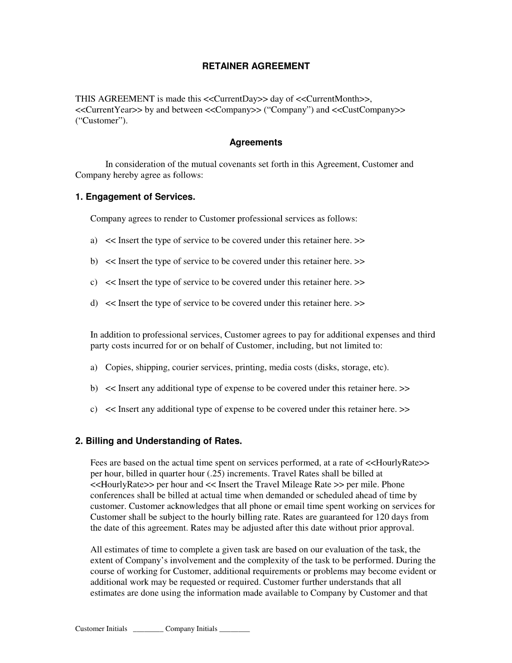 Retainer agreement sample template
