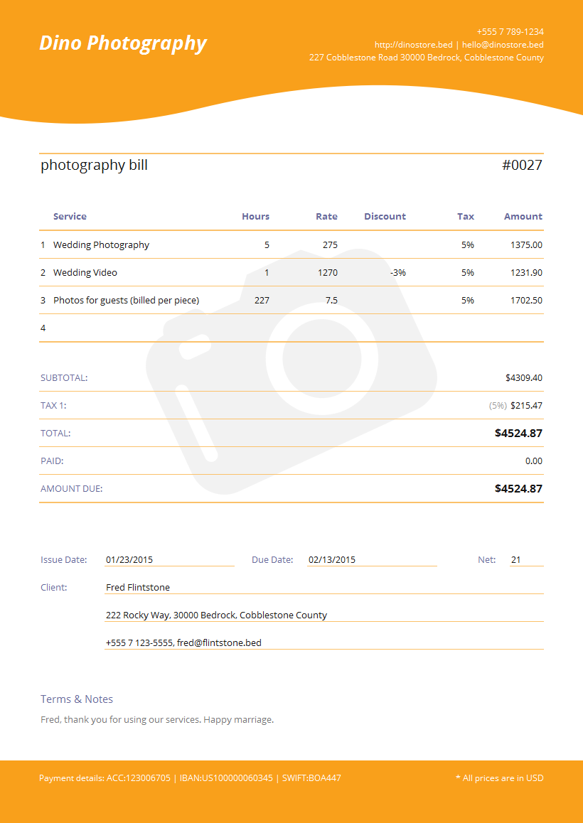 Invoice Template for photographer