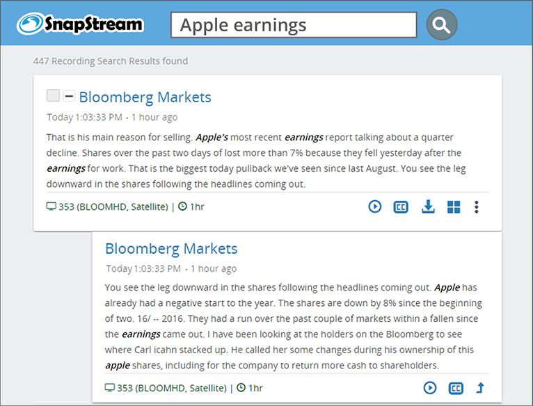 SnapStream TV Search: Apple earnings