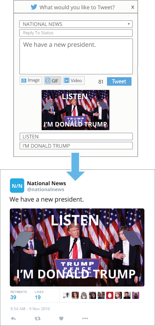Post Trump TV clip to Twitter