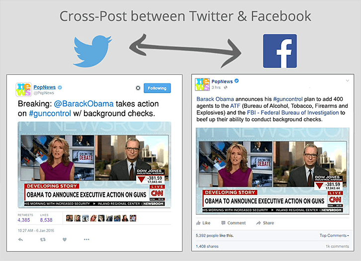 Cross-post betweet Twitter and Facebook