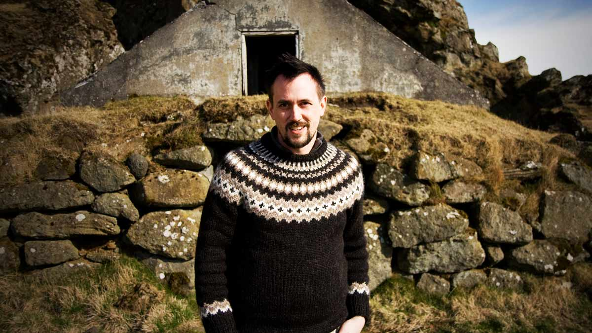 A human being wearing an Icelandic Sweater