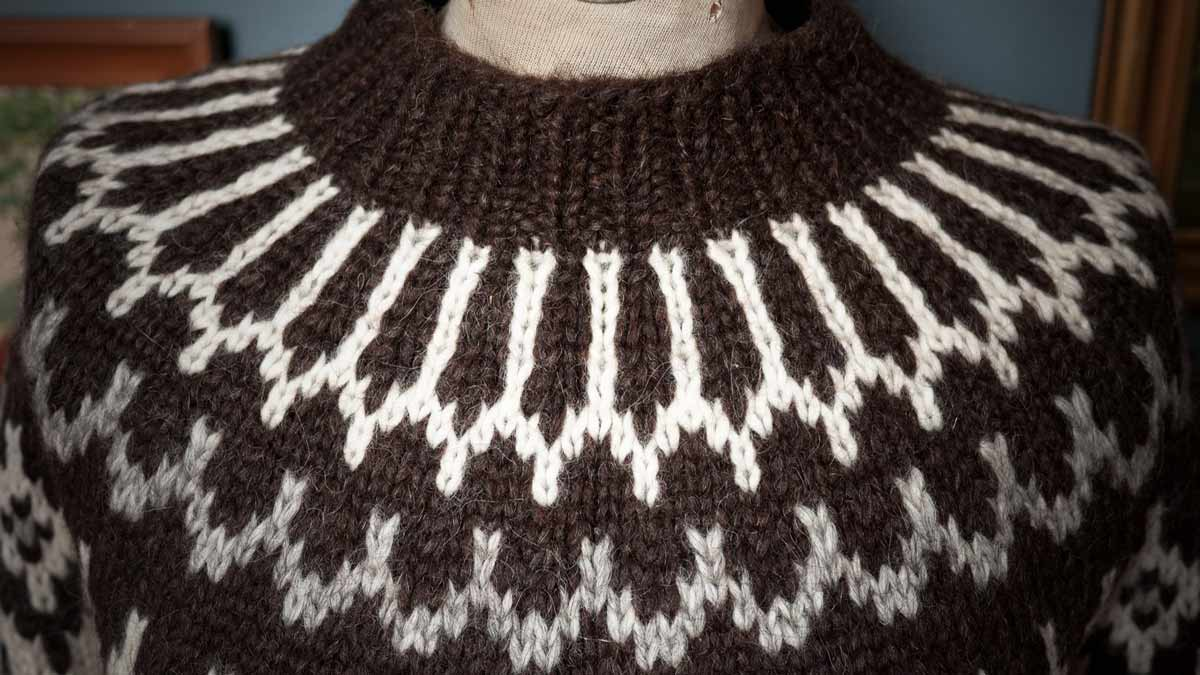 An Icelandic Sweater attached to a Mannequin