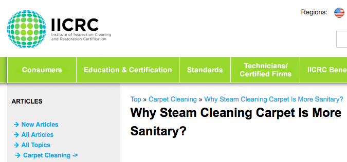 IICRC steam cleaning most sanitary