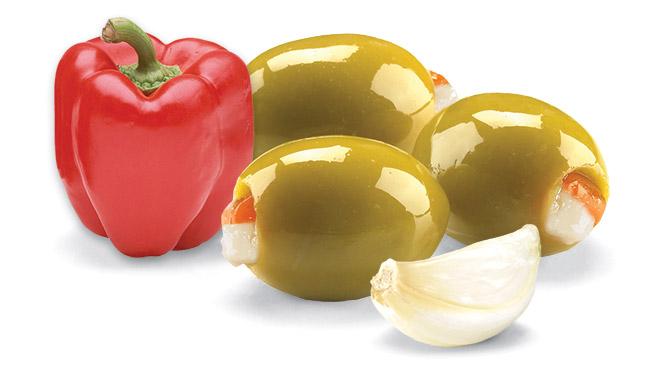 Garlic & Red Pepper Stuffed Olives Image