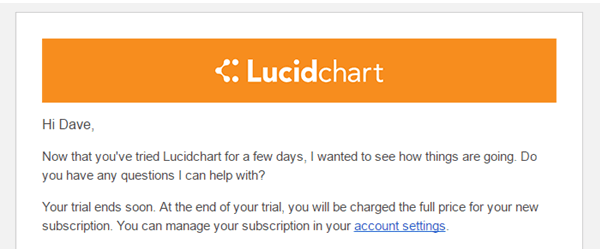 Lucidchart's email notification warns users they will be charged to increase conversions