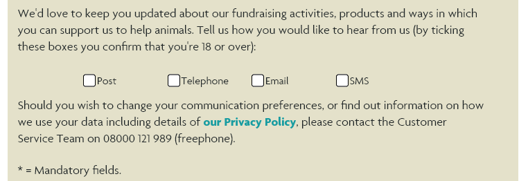 The RSPCA's site offers simple checkboxes for each contact method