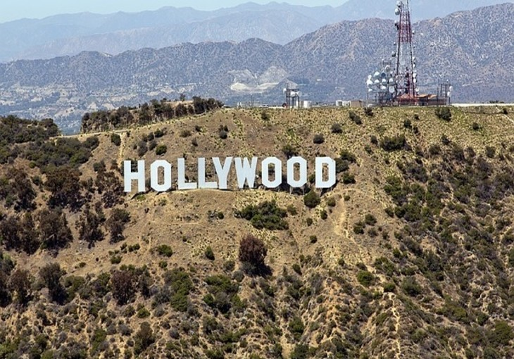 arial view of hollywood sign
