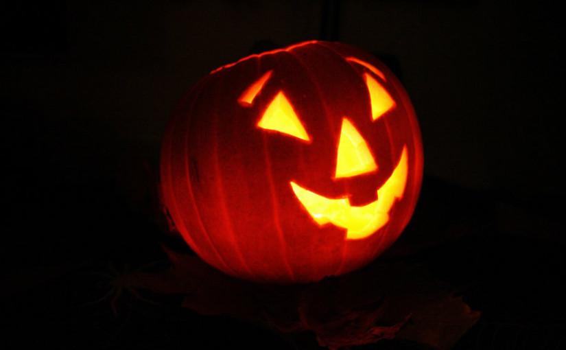 smiling lit up jack-o-lantern