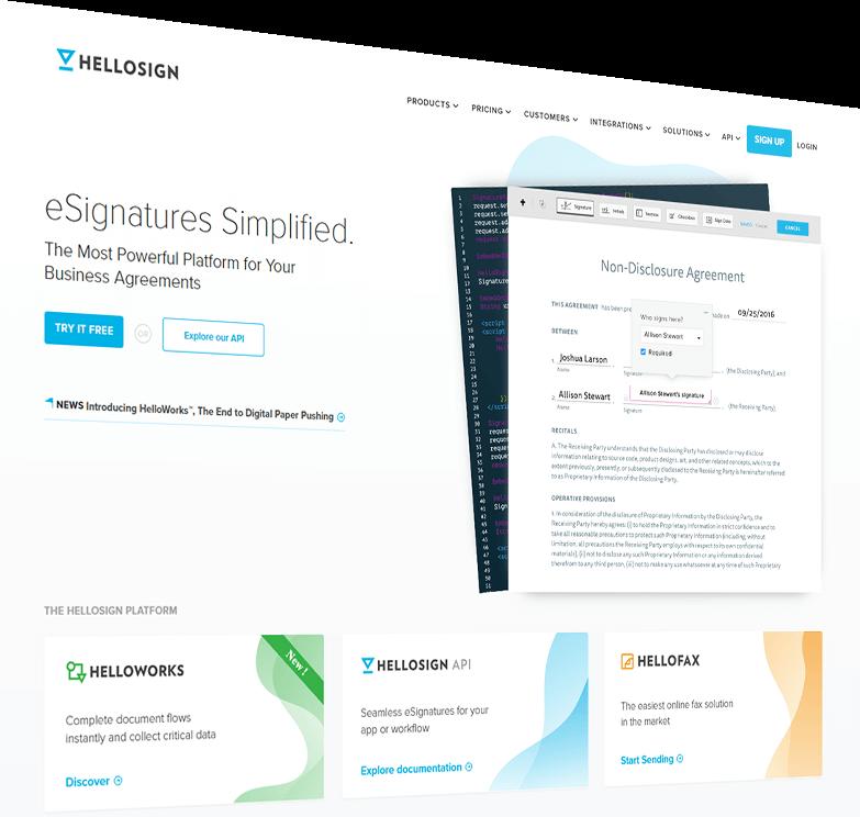 HelloSign esignatures finsweet website redesign