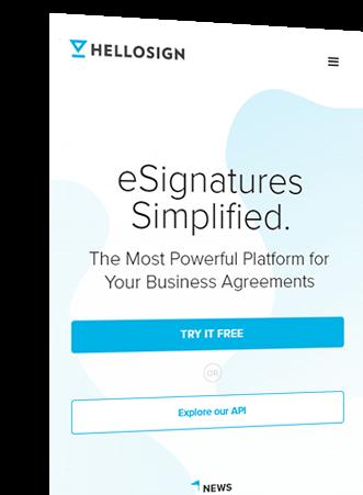 HelloSign esignatures finsweet mobile website redesign