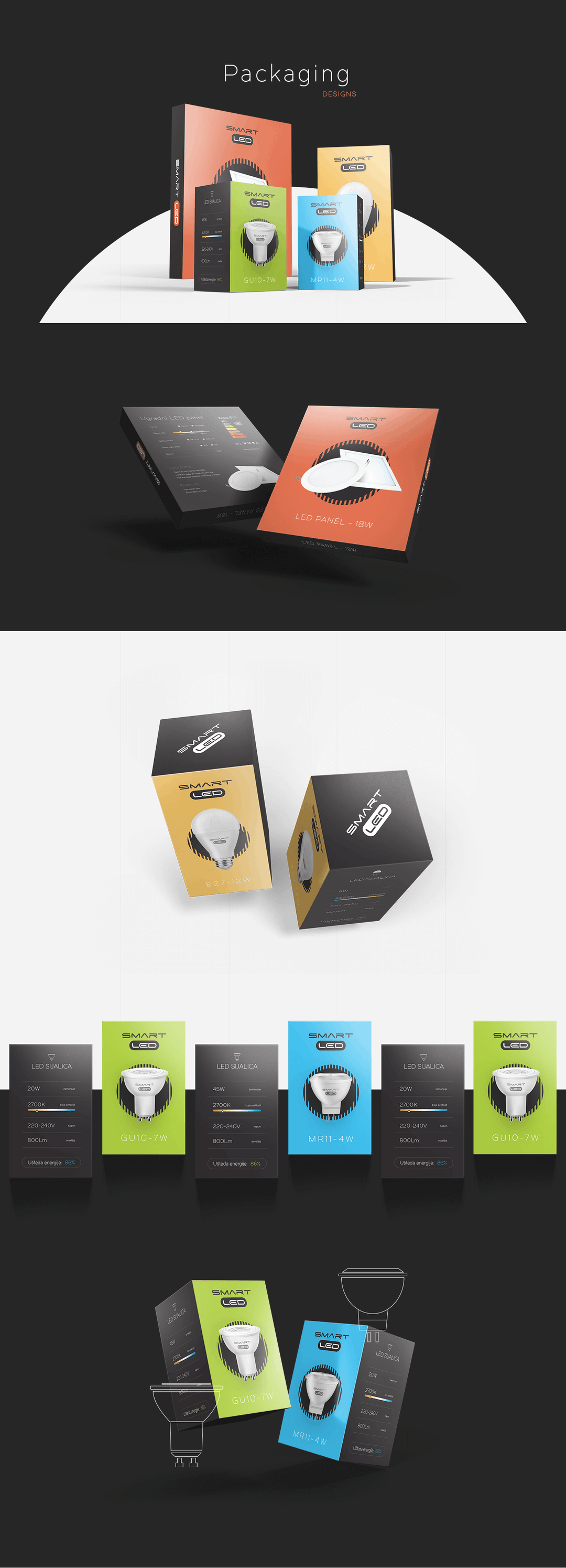 Smart LED light bulbs package design by Finsweet