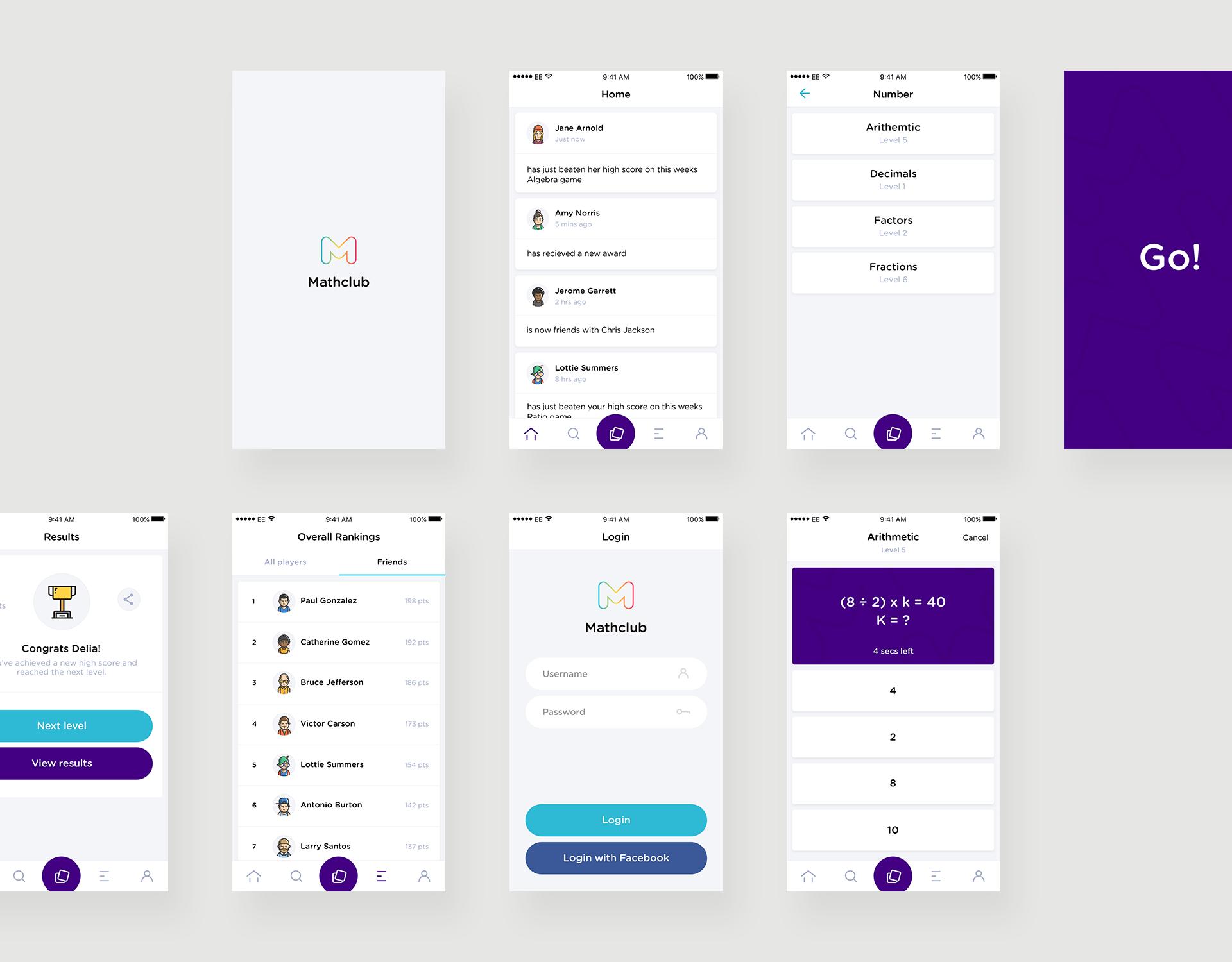 Mathclub Mobile UI (User Interface) Designs