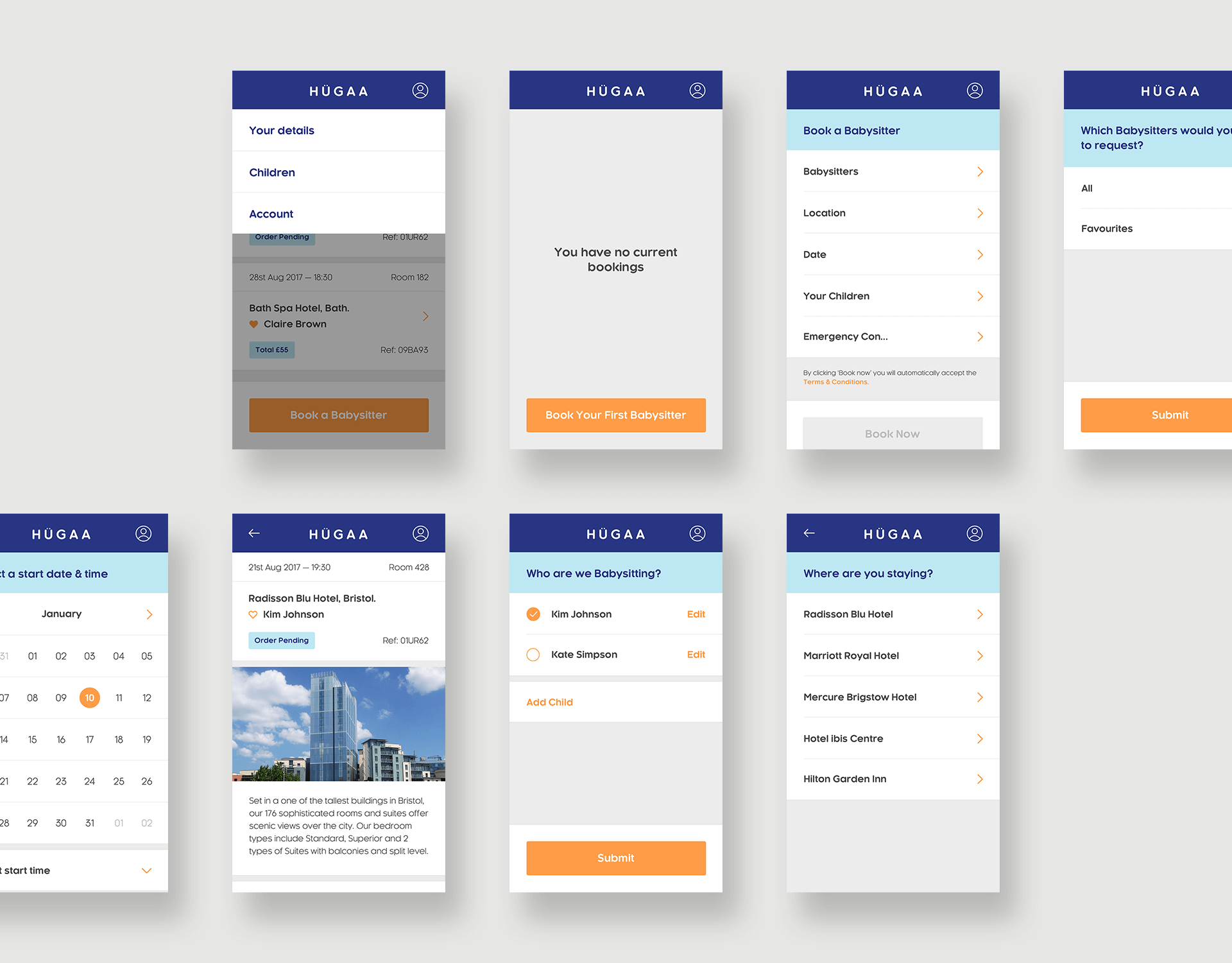 Mobile UI Designs For Hugaa