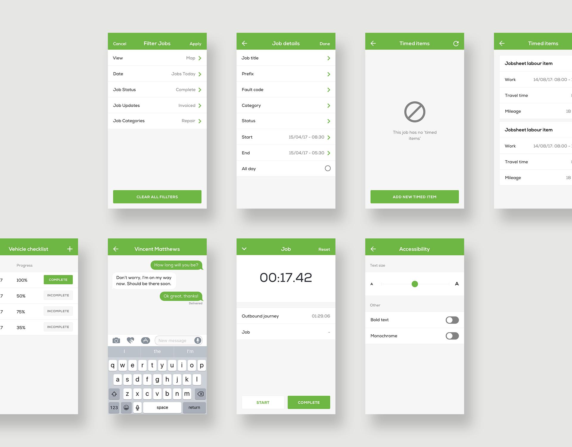 User Interface Designs for Clik Jobs