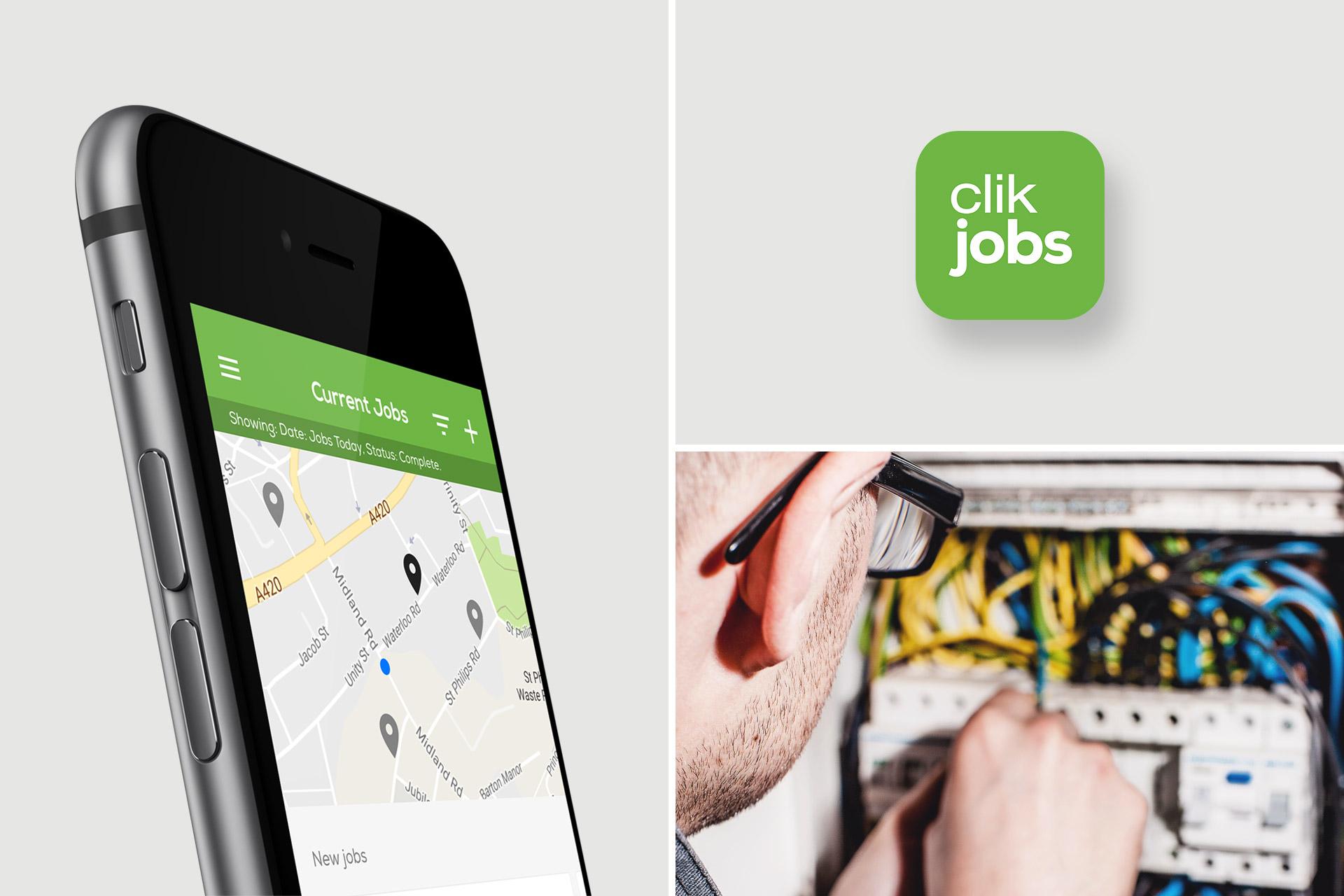 Mobile UI Designs for Clik Jobs App