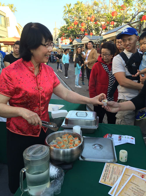 handing out pot stickers