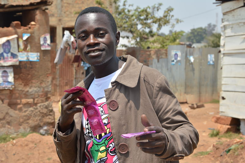 Boy with condom he received