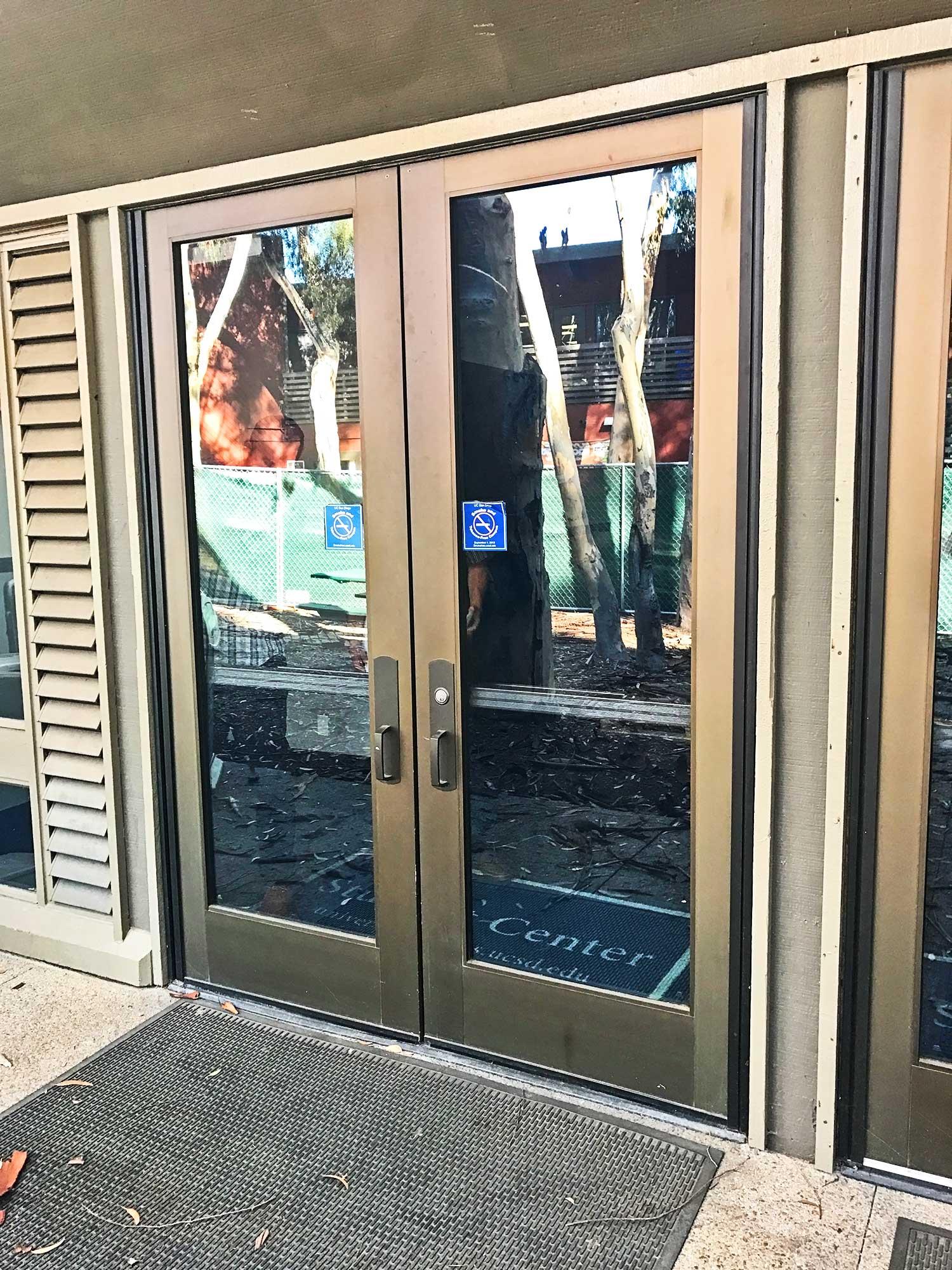 Exterior doors of food pantry