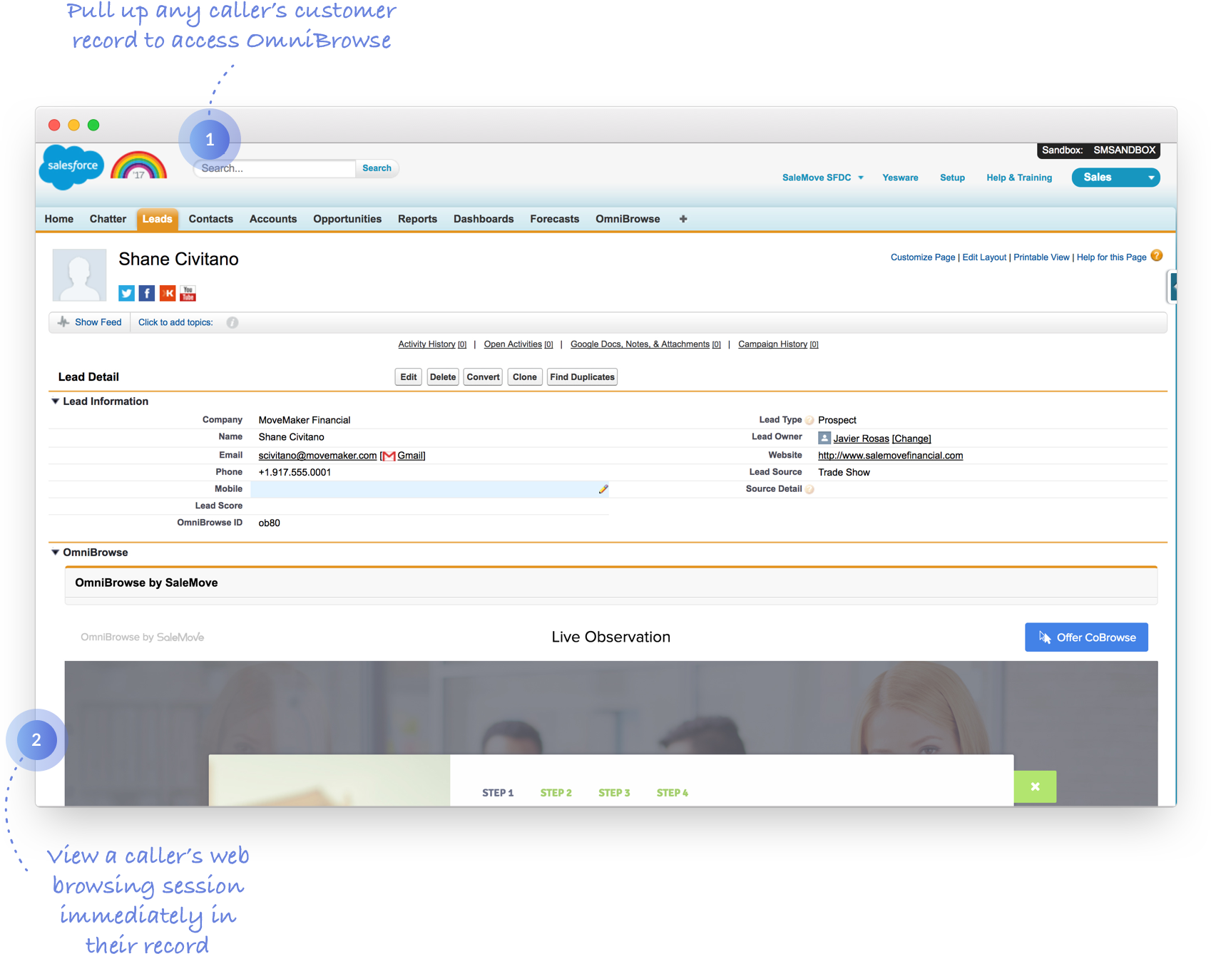 OmniBrowse integrates with Salesforce