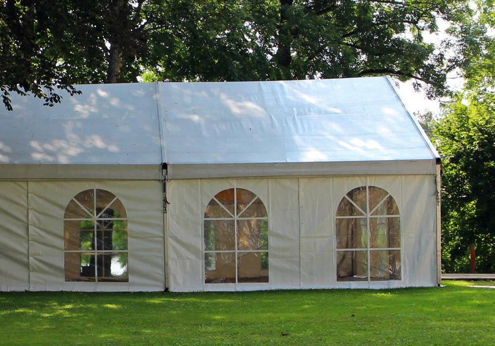 Window Walls - Side View. Interior Tent With Windows & Accessories | Illusions Tents | Lighting Flooring HVAC