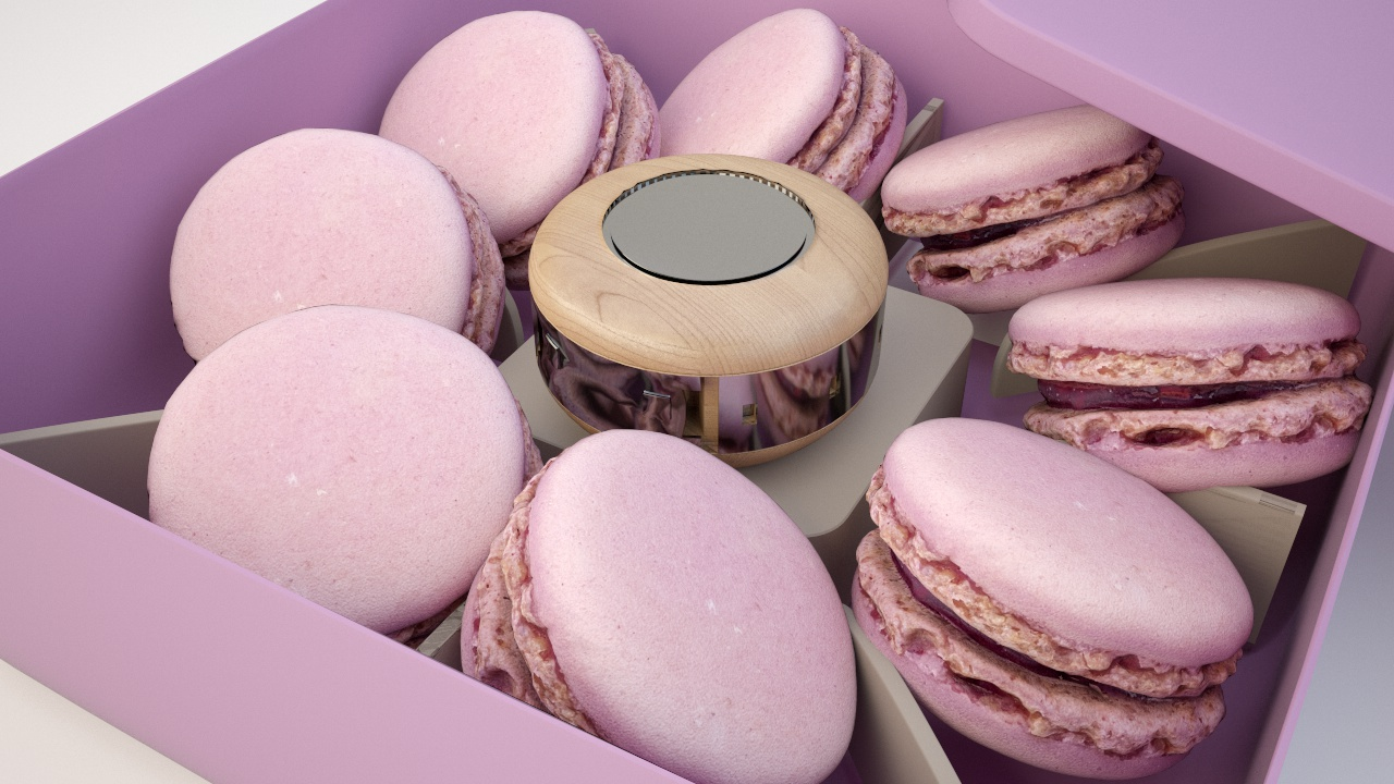 Macarons in box with macaron Pastries