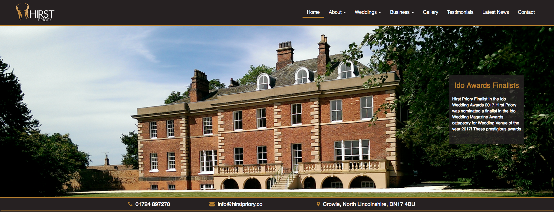 Hirst Priory | Front Page Header