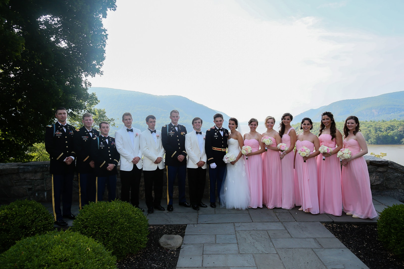 Military Bridal party wedding picture at Trophy Point West Point NY