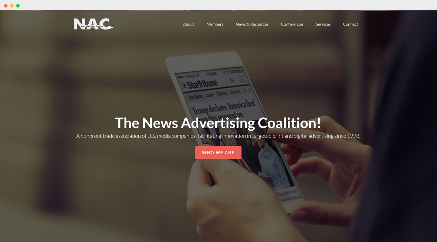 News Advertising Coalition Home Page screenshot