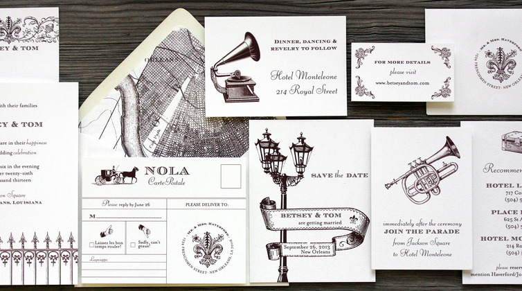 New Orleans Wedding Invitations (Plus A Giveaway!) From PostScript Brooklyn