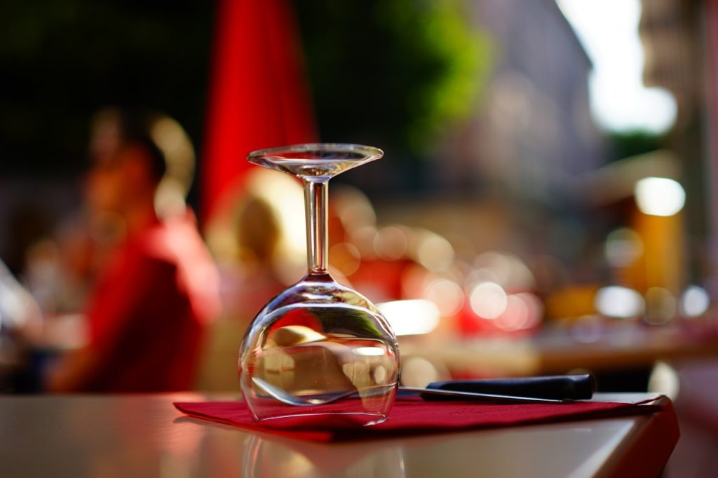 upside-down wine glass on napkin