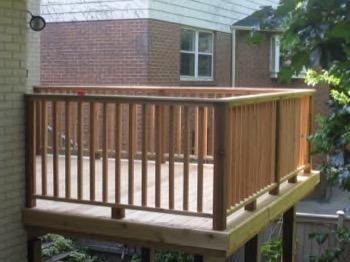 raised wooden deck on stilts
