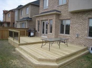 open backyard deck, two level
