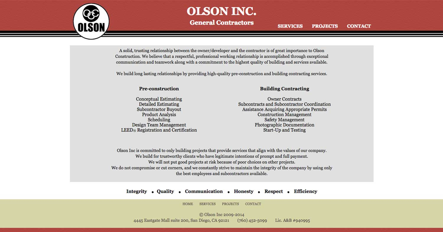 The previous Olson Construction Company Services page