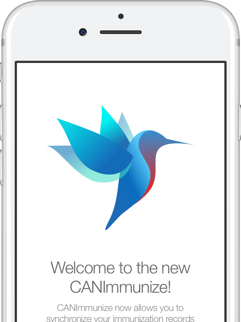 """white iphone showing the CANImmunize hummingbird saying """"Welcome to the new CANImmunize"""""""