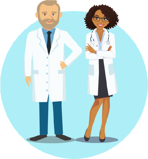 small icon depicting a male and a female doctor