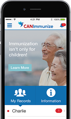 """image of and iphone depicting an elderly couple saying """"immunization isn't only for children!"""""""