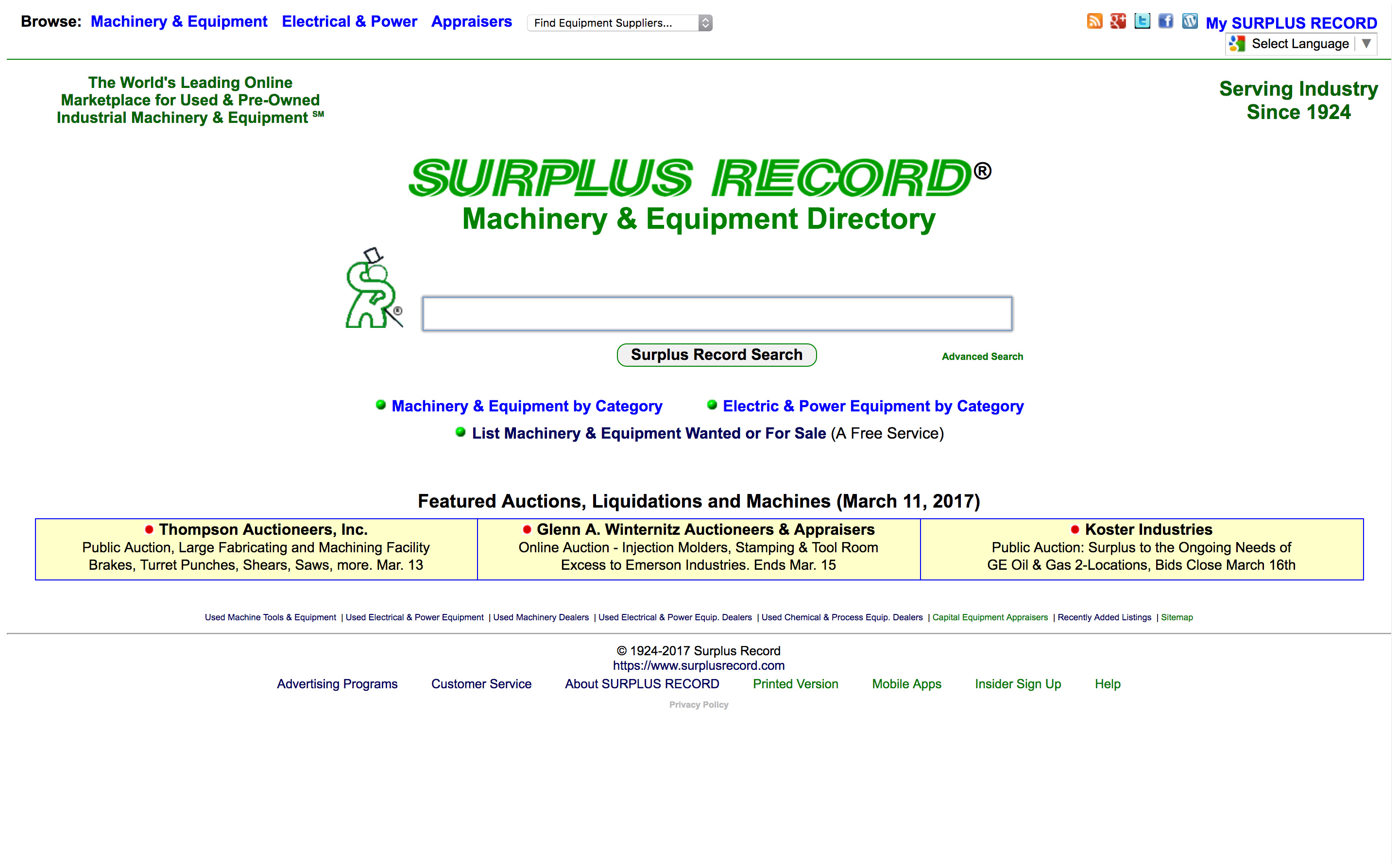 Surplus Record homepage