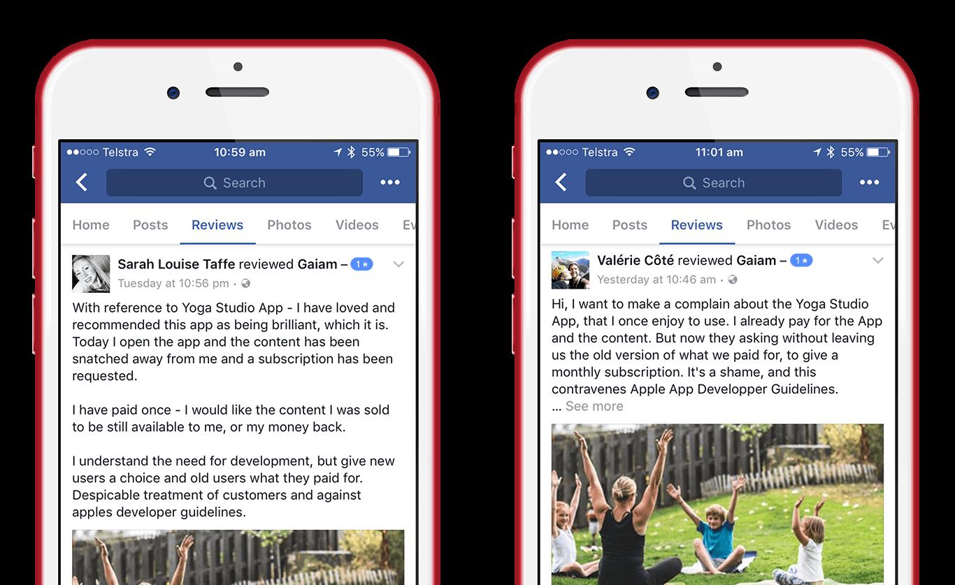 Gaiam's Facebook reviews for Yoga Studio
