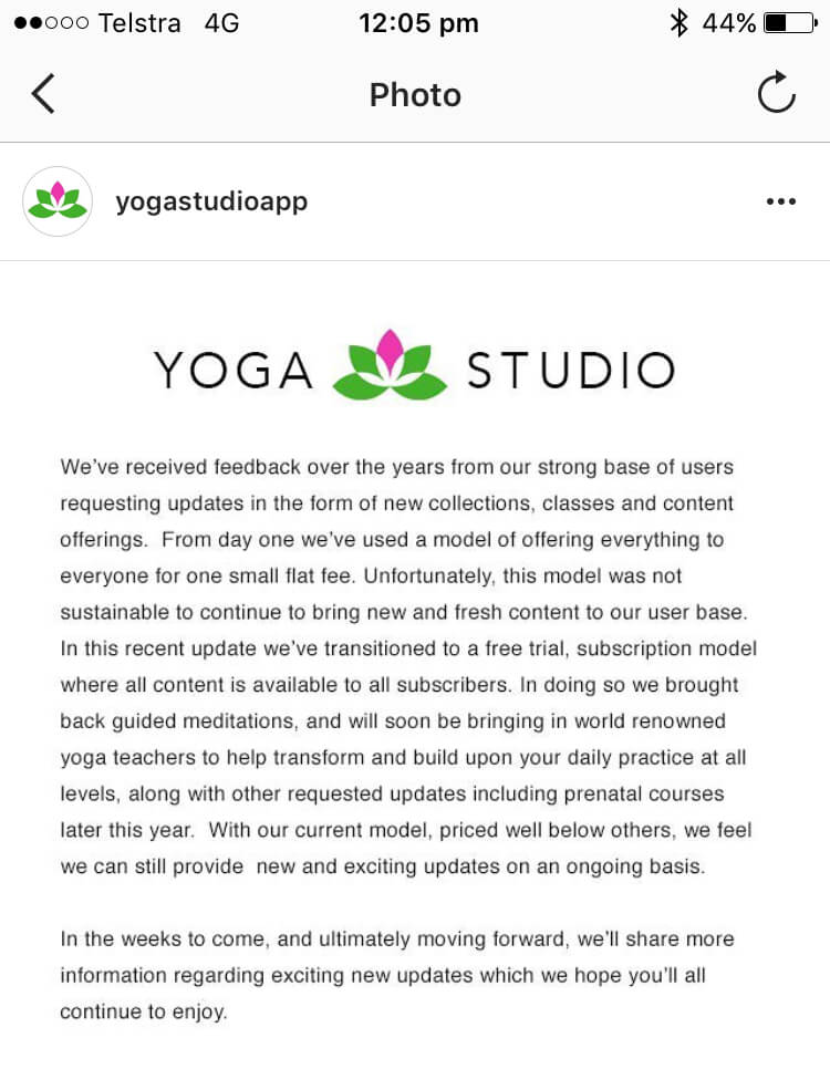 Yoga Studio App explanation of subscription fees