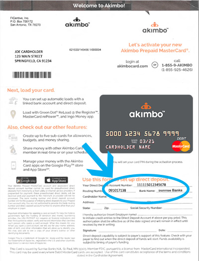 Direct Deposit Form for the Akimbo Prepaid Card