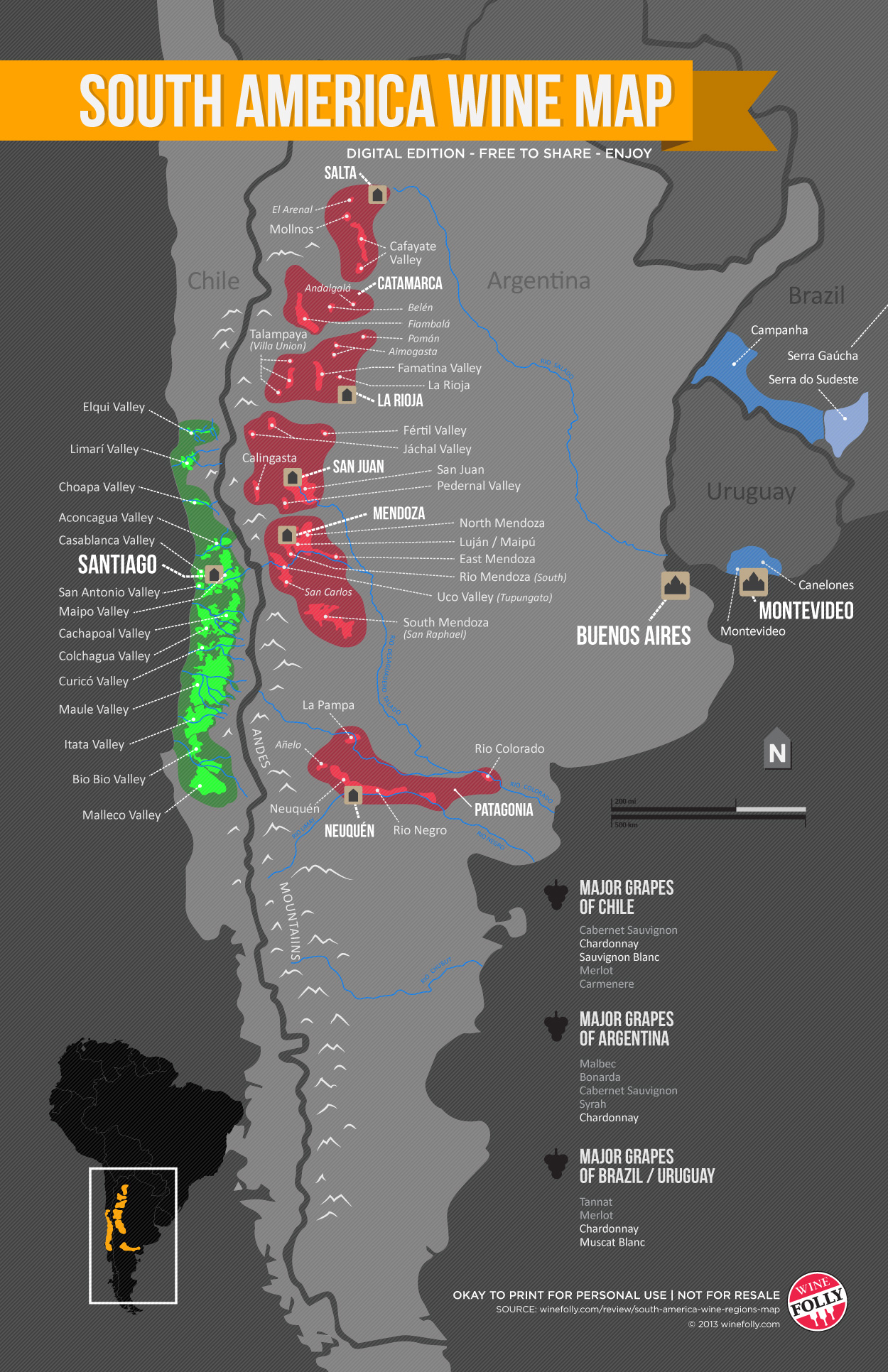 South American Wine Map