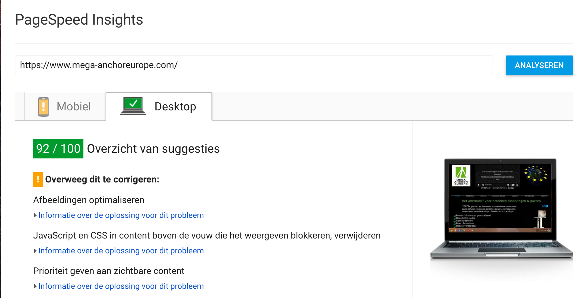 Wix scores better than Webflow in Google Pagespeed