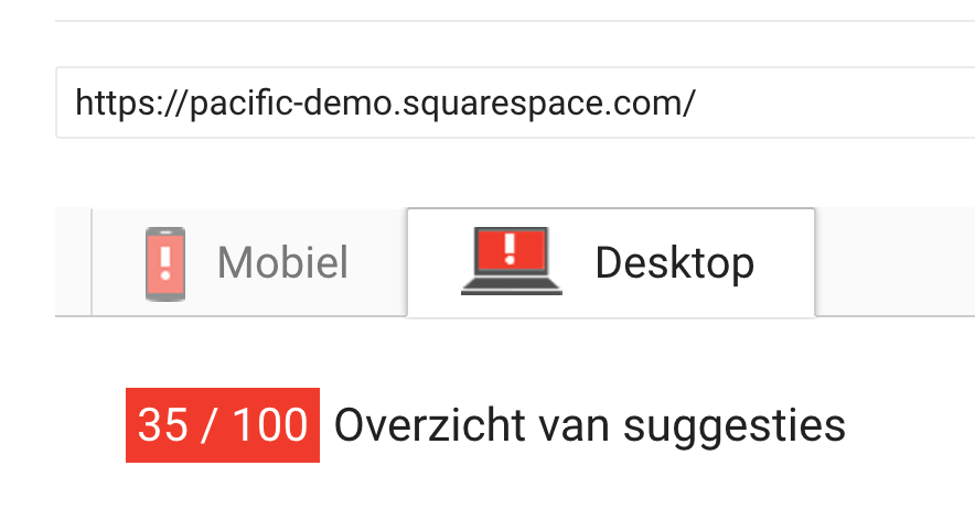 SquareSpace Google pagespeed tests on tempates are dramatic